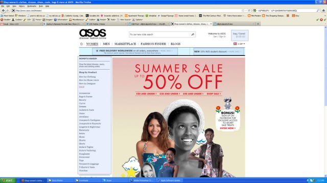 Screenshot of ASOS site