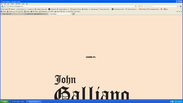 Loading the Galliano website