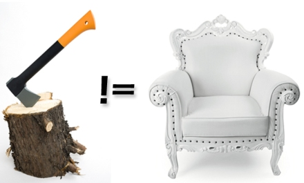 Ability to use an axe does not equal the ability to create fine furniture