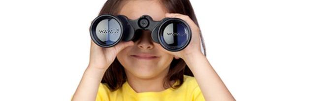 Young girl with binoculars