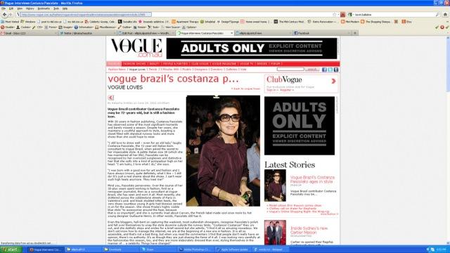 Screenshot of Vogue Feature Story