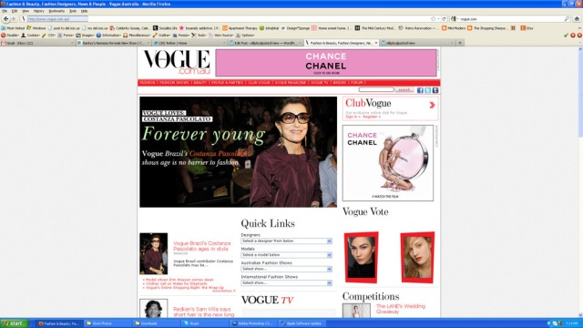 Screenshot of vogue australia home page