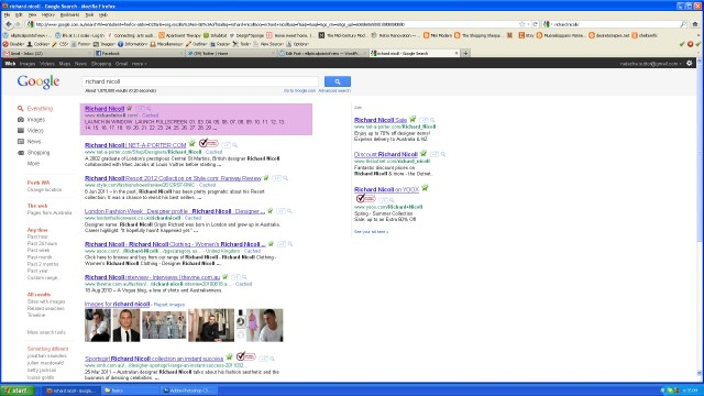 Google search results for Richard Nicoll