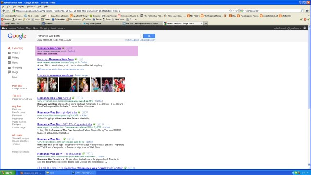 Google search results for romance was born