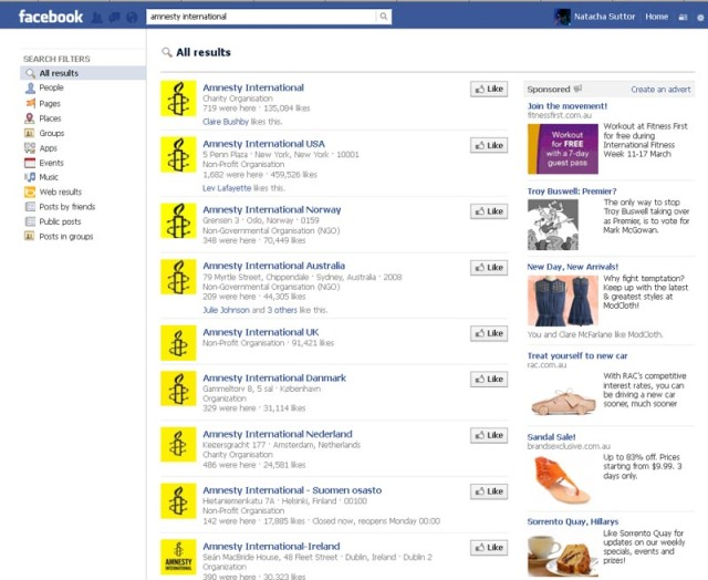 Facebook: Search Results for Amnesty International (Captured 09/03/2013)