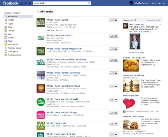 Facebook: Search Results for Whole Foods (Captured 09/03/2013)