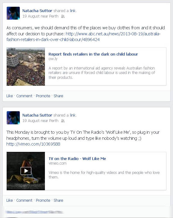 Screen shots of some Facebook updates with URLs that show sharing metadata (Taken 25 August 2013)