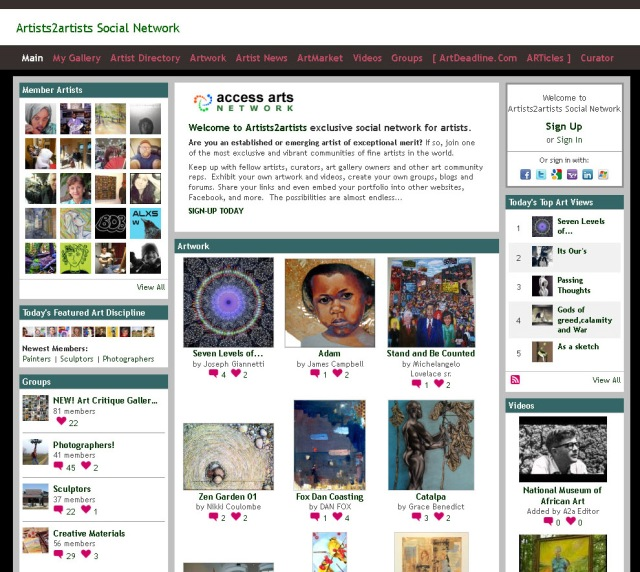 Screenshot of Artist2Artist home page (Taken 25 August 2013)