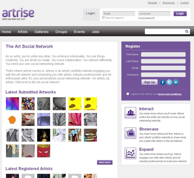 Screenshot of Artrise home page (Taken 3 September 2013)