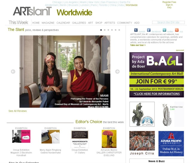 Screen shot of Artslant.com home page (Take 3 September 2013)