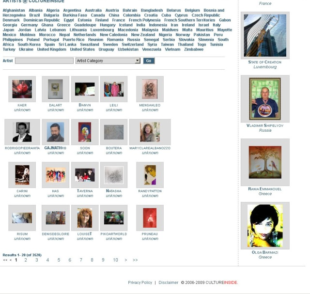 Screenshot of CultureInside artist directory (Taken 25 August 2013)