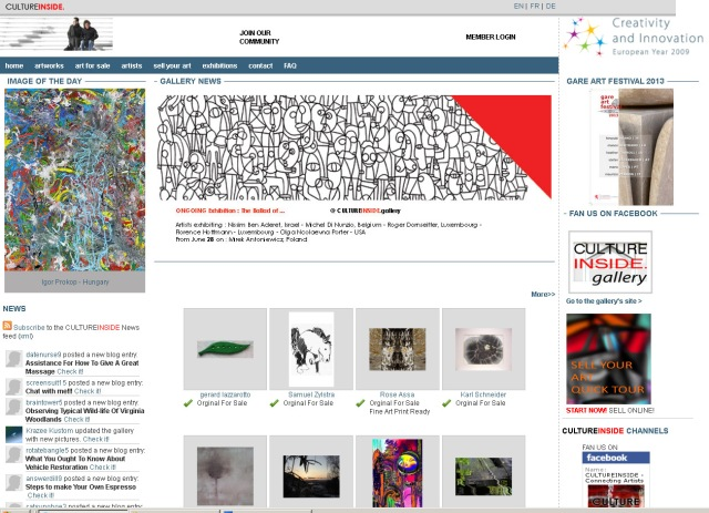 Screenshot of CultureInside home page (Take 4 September 2013)