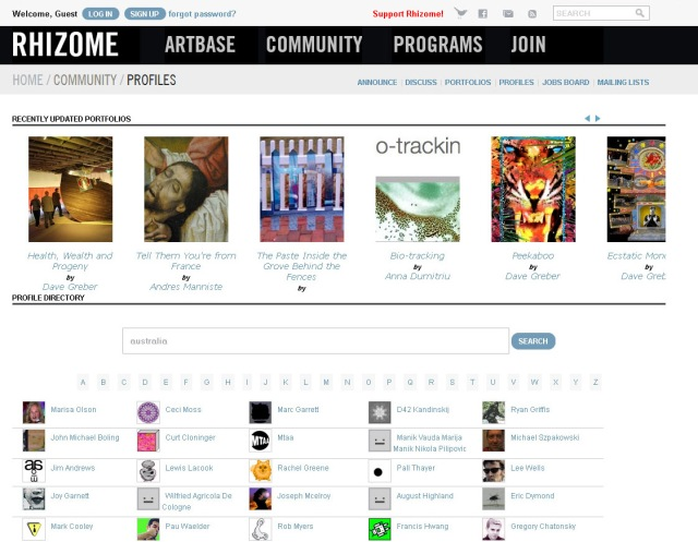 Screen shot of Rhizome.org artist directory (Taken 25 August 2013)