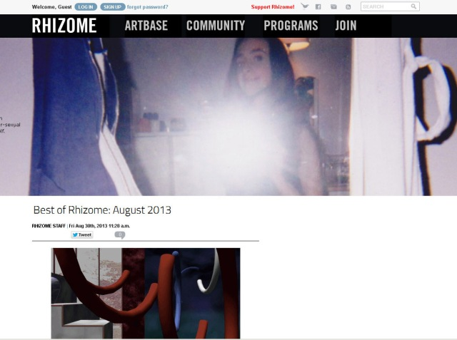 Screen shot of Rhizome.org home page (Taken 3 September 2013)