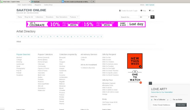 Screen shot of SaatchiOnline.com artist directory (Taken 25 August 2013)
