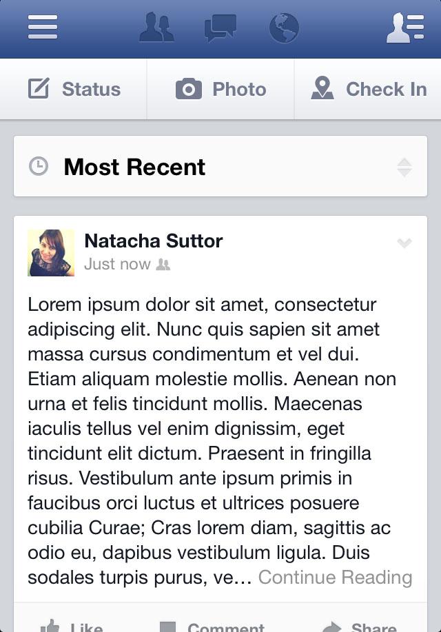 Screenshot of truncated status update in Facebook iPhone mobile app news feed (Taken 16 September 2013)
