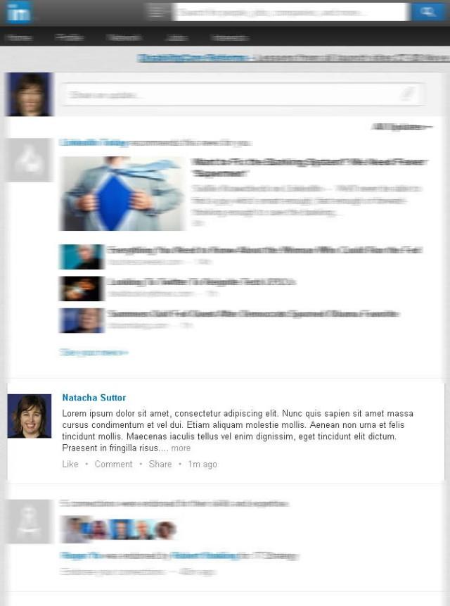 Screenshot of truncated activity update in LinkedIn news feed (Taken 16 September 2013)