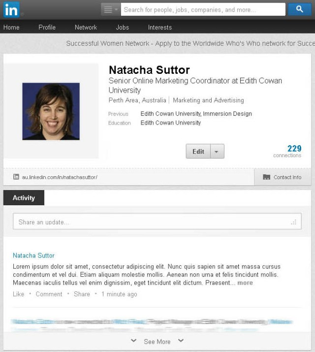 Screenshot of truncated activity update on my LinkedIn profile page