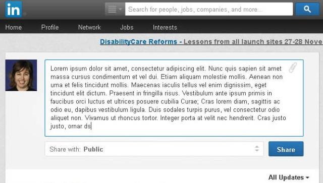 Screen shot of LinkedIn Activity Update field (Taken 16 September 2013)