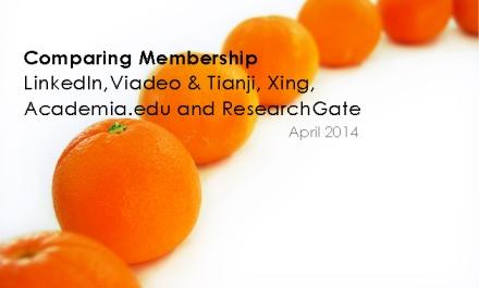 Comparing Membership LinkedIn,Viadeo & Tianji, Xing, Academia.edu and ResearchGate