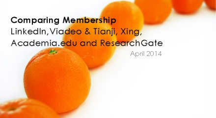 Comparing Membership LinkedIn,Viadeo & Tianji, Xing, Academia.edu and ResearchGate