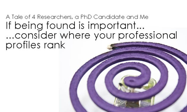 A Tale of 4 Researchers, a PhD Candidate and Me: If being found is important...consider where your profiles rank